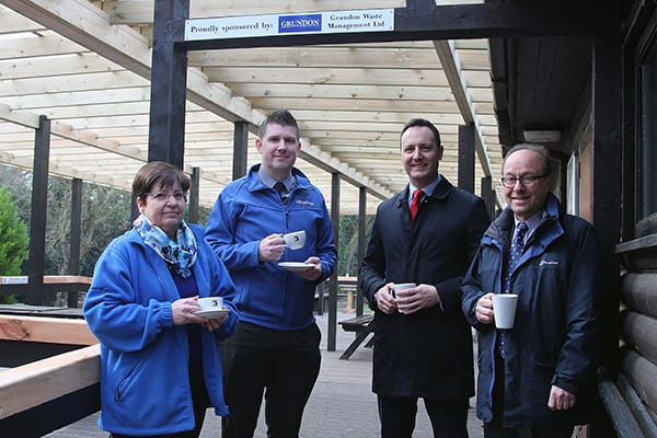 Time for tea: Anthony Foxlee-Brown, Debbie Valman, Grundon director, Bradley Smith and Groundwork South's executive director Gary Jacobs.